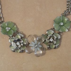 Silver Tone Flower Statement Necklace